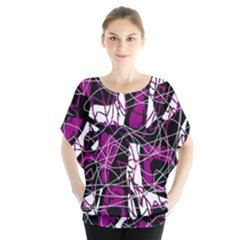 Purple, white, black abstract art Blouse