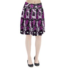 Purple, white, black abstract art Pleated Skirt