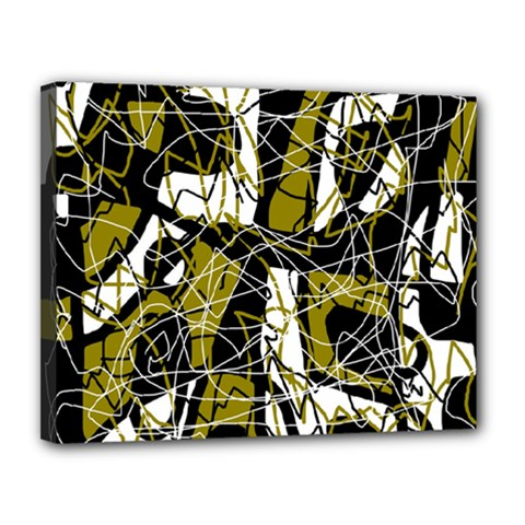 Brown abstract art Canvas 14  x 11