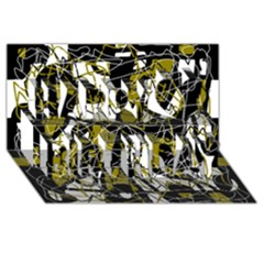 Brown Abstract Art Happy Birthday 3d Greeting Card (8x4)