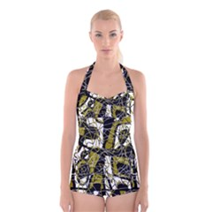 Brown Abstract Art Boyleg Halter Swimsuit