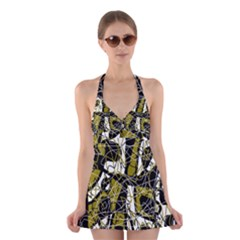 Brown abstract art Halter Swimsuit Dress