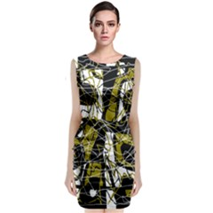 Brown Abstract Art Classic Sleeveless Midi Dress