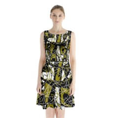Brown abstract art Sleeveless Chiffon Waist Tie Dress