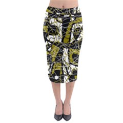 Brown abstract art Midi Pencil Skirt