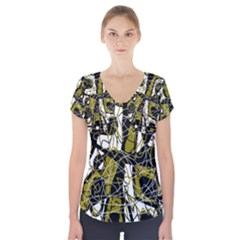 Brown Abstract Art Short Sleeve Front Detail Top