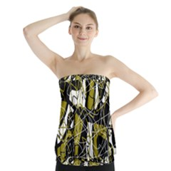 Brown abstract art Strapless Top