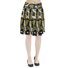Brown abstract art Pleated Skirt