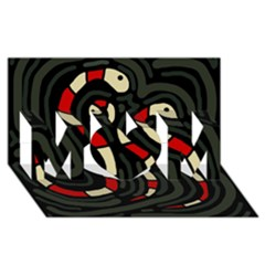 Red snakes MOM 3D Greeting Card (8x4)