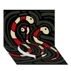 Red snakes Circle Bottom 3D Greeting Card (7x5)
