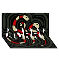 Red snakes SORRY 3D Greeting Card (8x4)