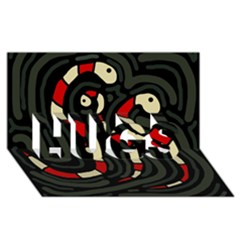 Red snakes HUGS 3D Greeting Card (8x4)