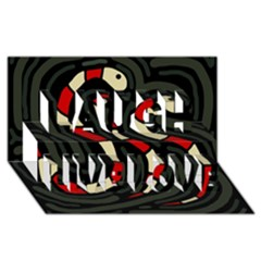 Red snakes Laugh Live Love 3D Greeting Card (8x4)