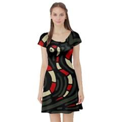 Red snakes Short Sleeve Skater Dress