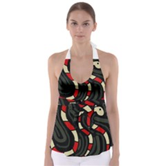 Red snakes Babydoll Tankini Top