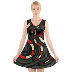 Red Snakes V Neck Sleeveless Skater Dress