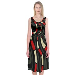 Red Snakes Midi Sleeveless Dress