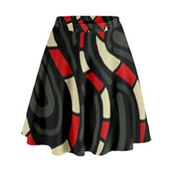 Red Snakes High Waist Skirt