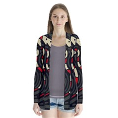 Red Snakes Drape Collar Cardigan