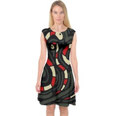 Red snakes Capsleeve Midi Dress