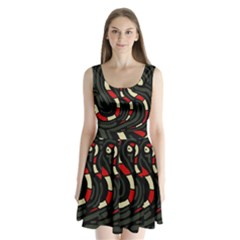 Red snakes Split Back Mini Dress