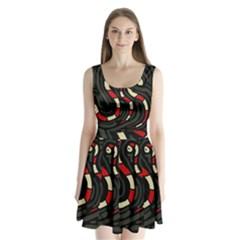 Red Snakes Split Back Mini Dress