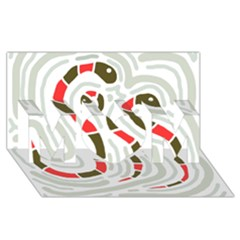 Snakes family MOM 3D Greeting Card (8x4)