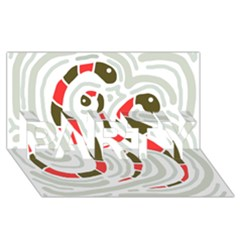 Snakes family PARTY 3D Greeting Card (8x4)