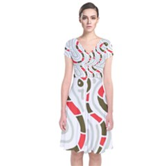 Snakes Family Short Sleeve Front Wrap Dress
