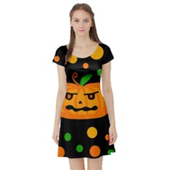 Halloween pumpkin Short Sleeve Skater Dress