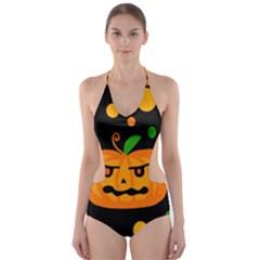 Halloween Pumpkin Cut Out One Piece Swimsuit
