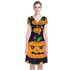 Halloween pumpkin Short Sleeve Front Wrap Dress