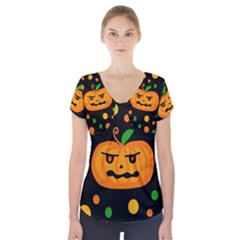 Halloween pumpkin Short Sleeve Front Detail Top