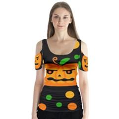 Halloween pumpkin Butterfly Sleeve Cutout Tee