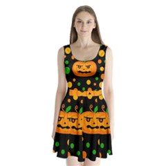 Halloween pumpkin Split Back Mini Dress