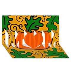 Thanksgiving pumpkin MOM 3D Greeting Card (8x4)