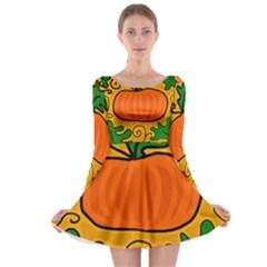 Thanksgiving pumpkin Long Sleeve Skater Dress