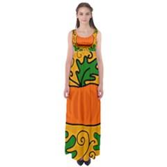 Thanksgiving pumpkin Empire Waist Maxi Dress