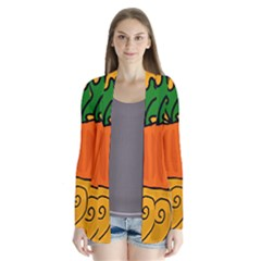 Thanksgiving Pumpkin Drape Collar Cardigan