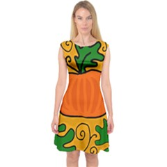 Thanksgiving pumpkin Capsleeve Midi Dress