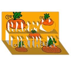 Thanksgiving pumpkins pattern Happy Birthday 3D Greeting Card (8x4)