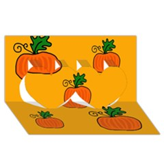 Thanksgiving pumpkins pattern Twin Hearts 3D Greeting Card (8x4)
