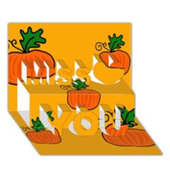 Thanksgiving pumpkins pattern Miss You 3D Greeting Card (7x5)