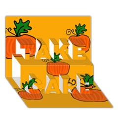 Thanksgiving pumpkins pattern TAKE CARE 3D Greeting Card (7x5)