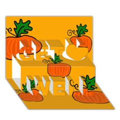 Thanksgiving pumpkins pattern Get Well 3D Greeting Card (7x5)