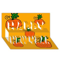 Thanksgiving pumpkins pattern Happy New Year 3D Greeting Card (8x4)