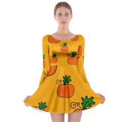 Thanksgiving pumpkins pattern Long Sleeve Skater Dress