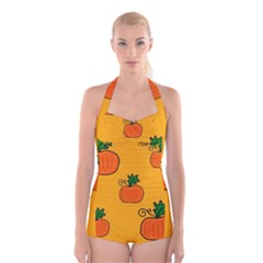 Thanksgiving Pumpkins Pattern Boyleg Halter Swimsuit