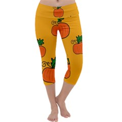 Thanksgiving Pumpkins Pattern Capri Yoga Leggings