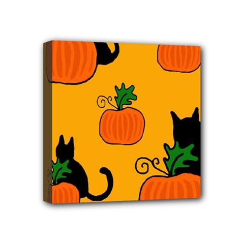 Halloween pumpkins and cats Mini Canvas 4  x 4